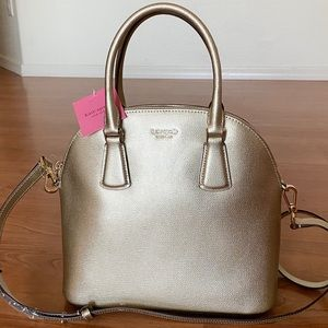 NWT Authentic KATE SPADE Large Light Gold Satchel